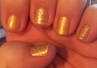 Two China Glaze colors: Blonde Bombshell accents over Champagne Bubbles