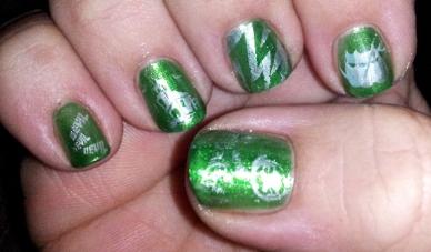 Green Halloween Stamp Manicure